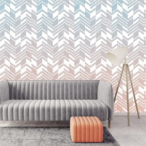 Wallart - Tapeta Line-up coral ombre - Tapeta na wymiar